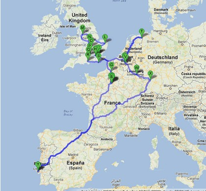 route taken on this journey in Europe
